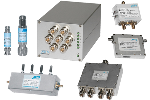 RF Components: DGL-attenuators, KRM relay module, RU2 relay, LT4 divider, step attenuator series AS and PAH attenuator